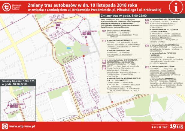Zmiany tras autobusów UM Warszawa