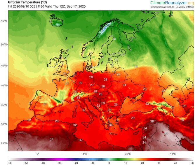 Temperatura maksymalna na czwartek 17 września według modelu GFS (ClimateRenalyzer.org)