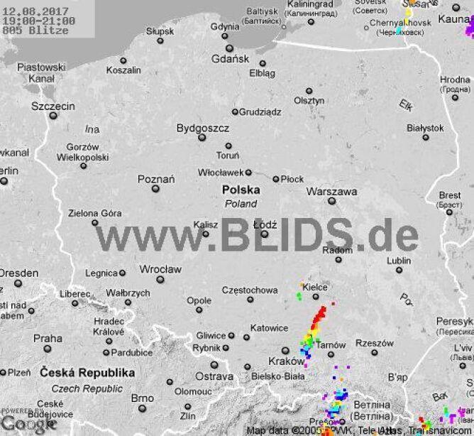 Burze nad Polską w godz. 19-21 (blids.de)