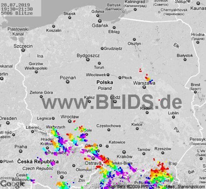 Ścieżka burz w godzinach 19.30-21.30 (blids.de)