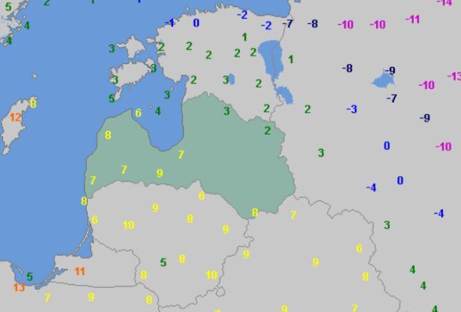 Temperatura maksymalna na Litwie w poniedziałek (wetteronline.de)