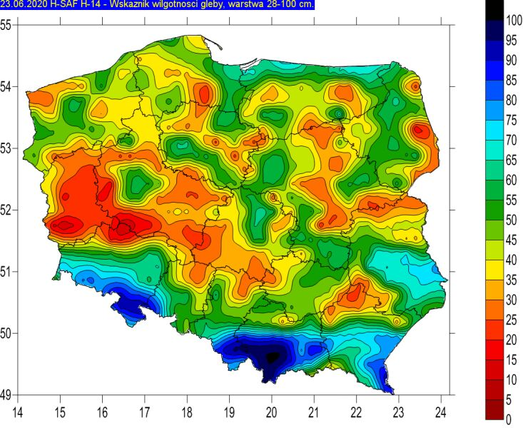 Wilgotność gleby w warstwie 28-100 centymetrów (stopsuszy.imgw.pl)