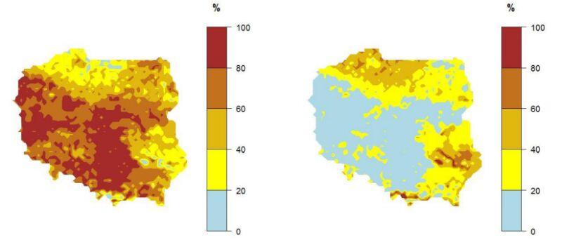 """Prawdopodobieństwo wystąpienia kolejno klasy """"poniżej normy"""" (mapa po lewej stronie) i """"powyżej normy"""" (mapa po prawej stronie) dla średniej temperatury powietrza w marcu 2020 r. (IMGW-PiB)"""