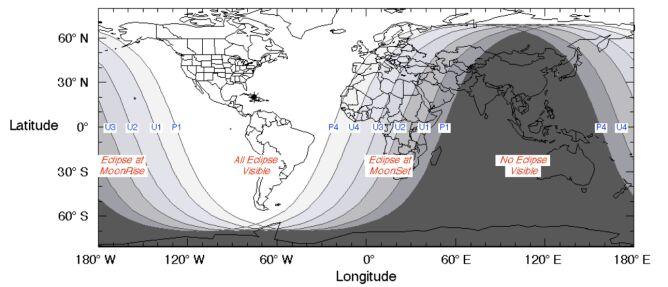 Rejony świata, w których będzie widoczne zaćmienie Księżyca (NASA)